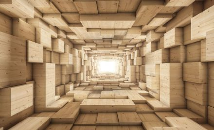 Wooden abstract tunnel wallpaper mural
